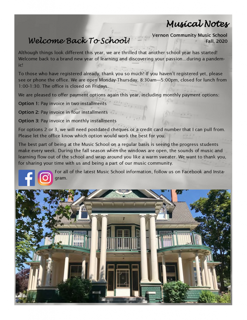 Page 1 of the Fall Newsletter