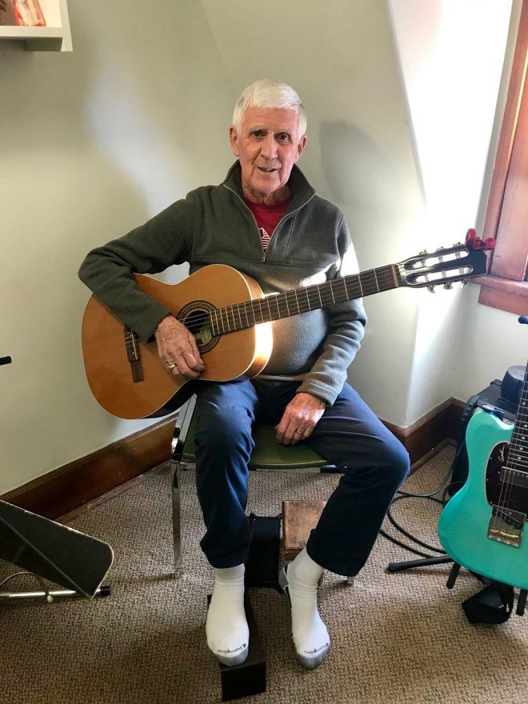 Bob Kersey studies guitar at the Vernon Community Music School