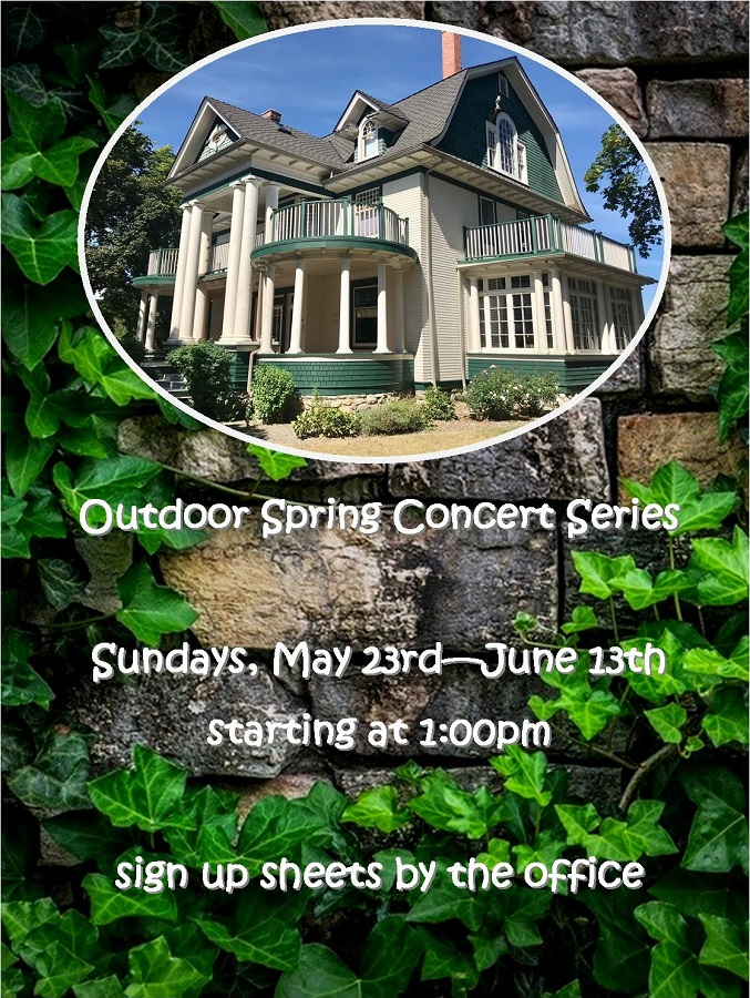 Outdoor Spring Concert Series at the Vernon Community Music School, May 23 - June 13.
