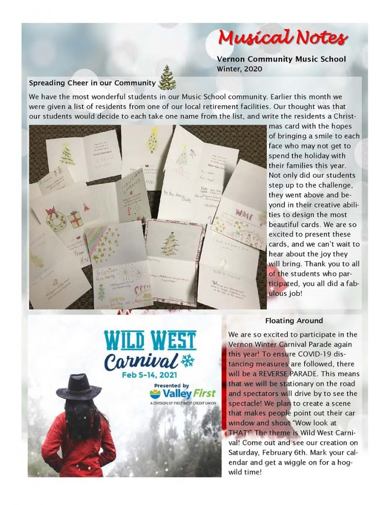 newsletter page 1 - spreading cheer in our community