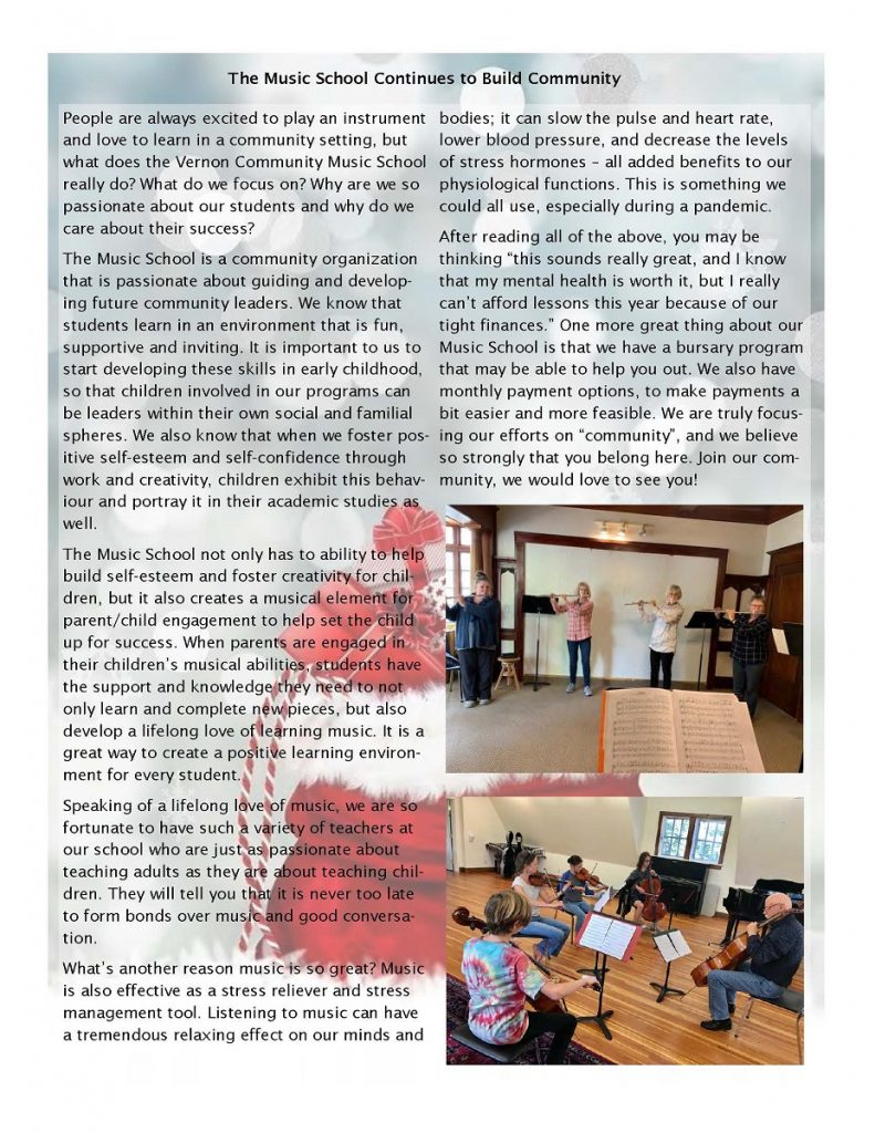 newsletter page 2 - The Music School Continues to Build Community