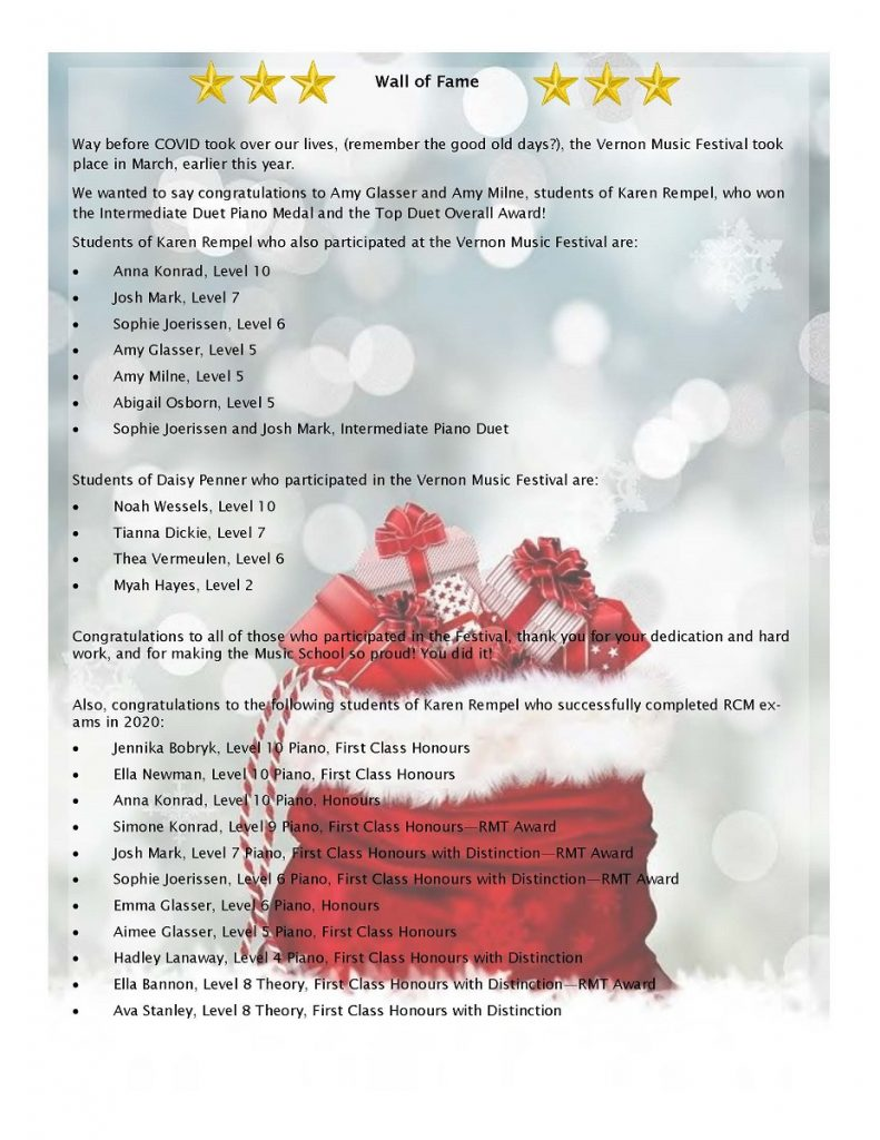 newsletter page 4 - wall of fame